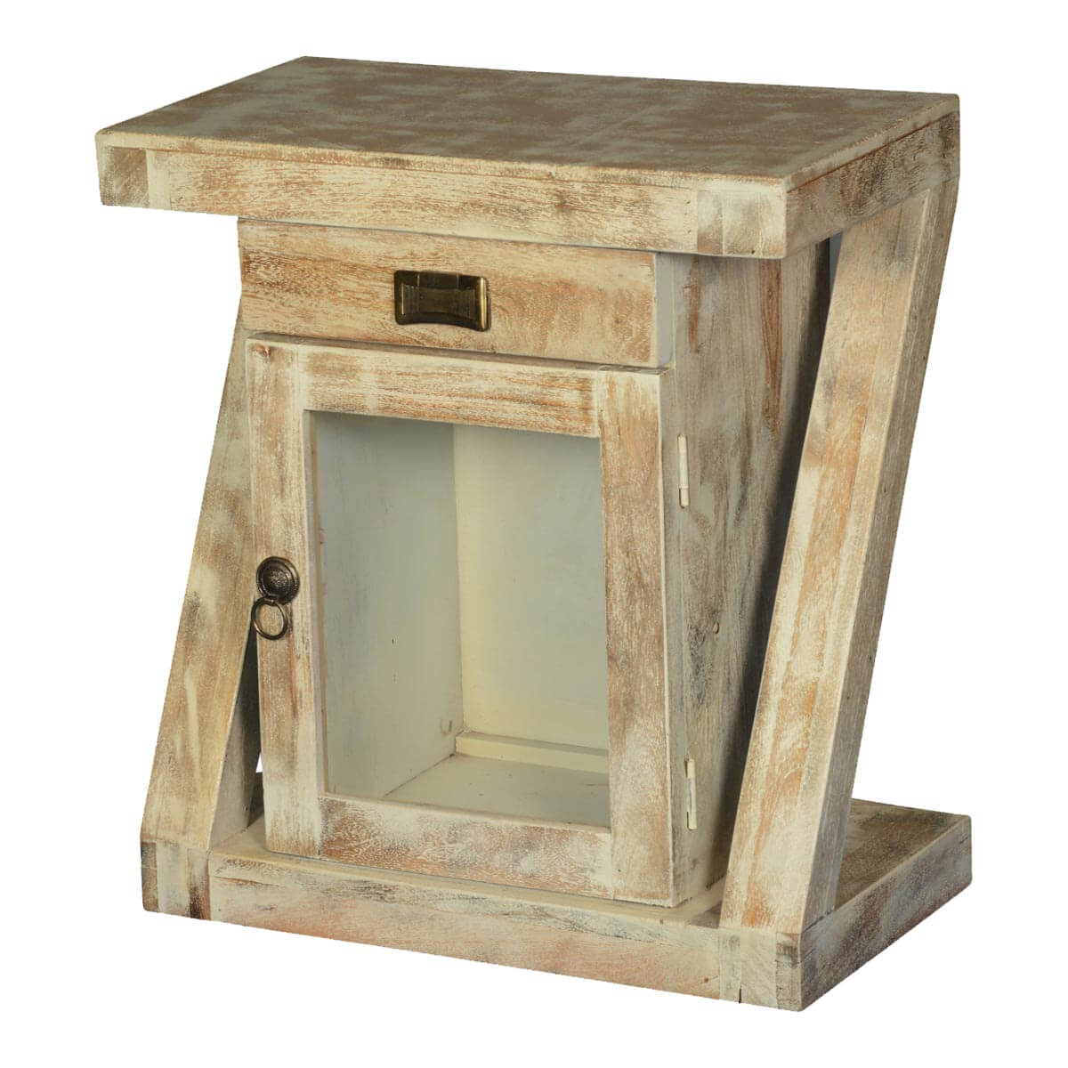 Contemporary Frosted Z Mango Wood 1 Drawer End Table