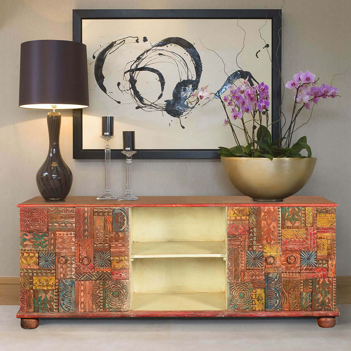 Wooden Patch Quilt Reclaimed Wood TV Console Media Cabinet
