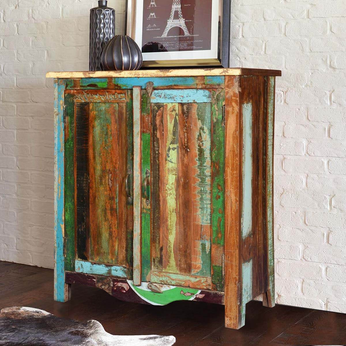 Eatonville Distressed Reclaimed Wood Painted Freestanding Cabinet