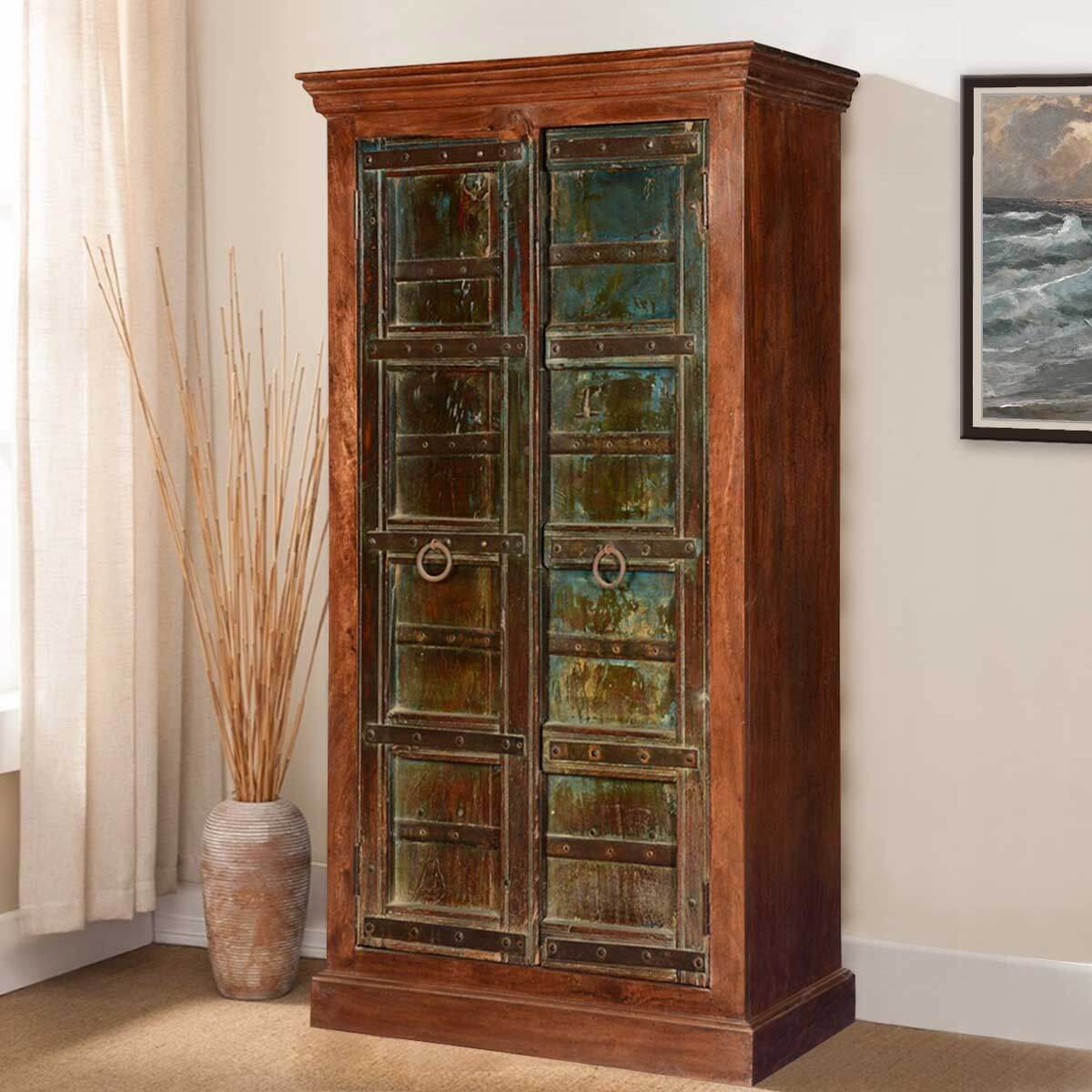 Rustic Gothic Solid Mango And Reclaimed Wood Armoire Storage Cabinet
