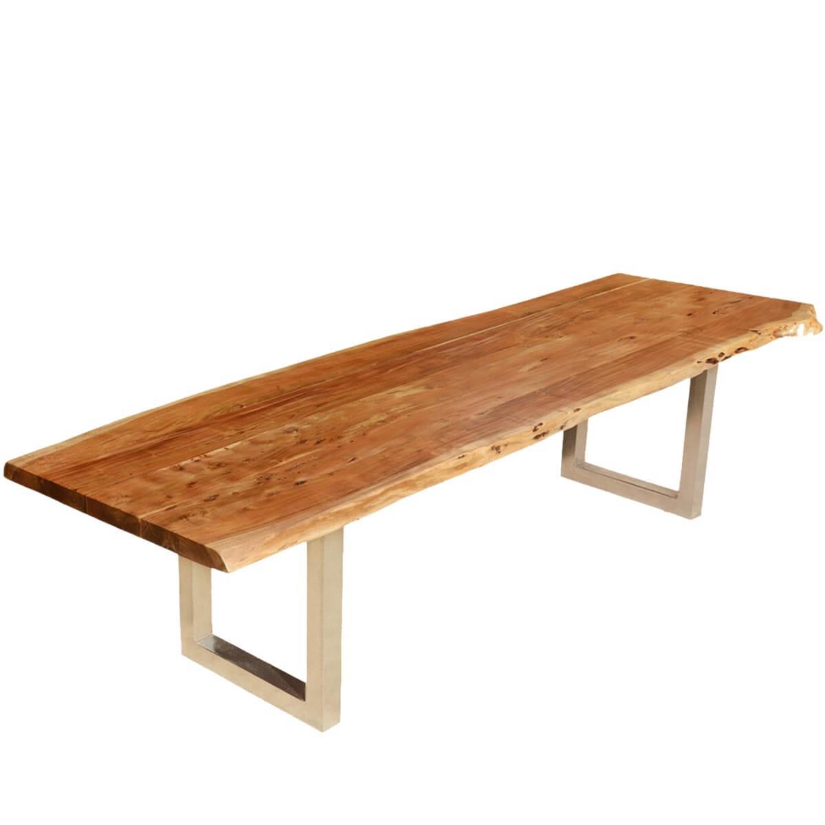 Modern Live Edge Dining Table Acacia Wood & Iron