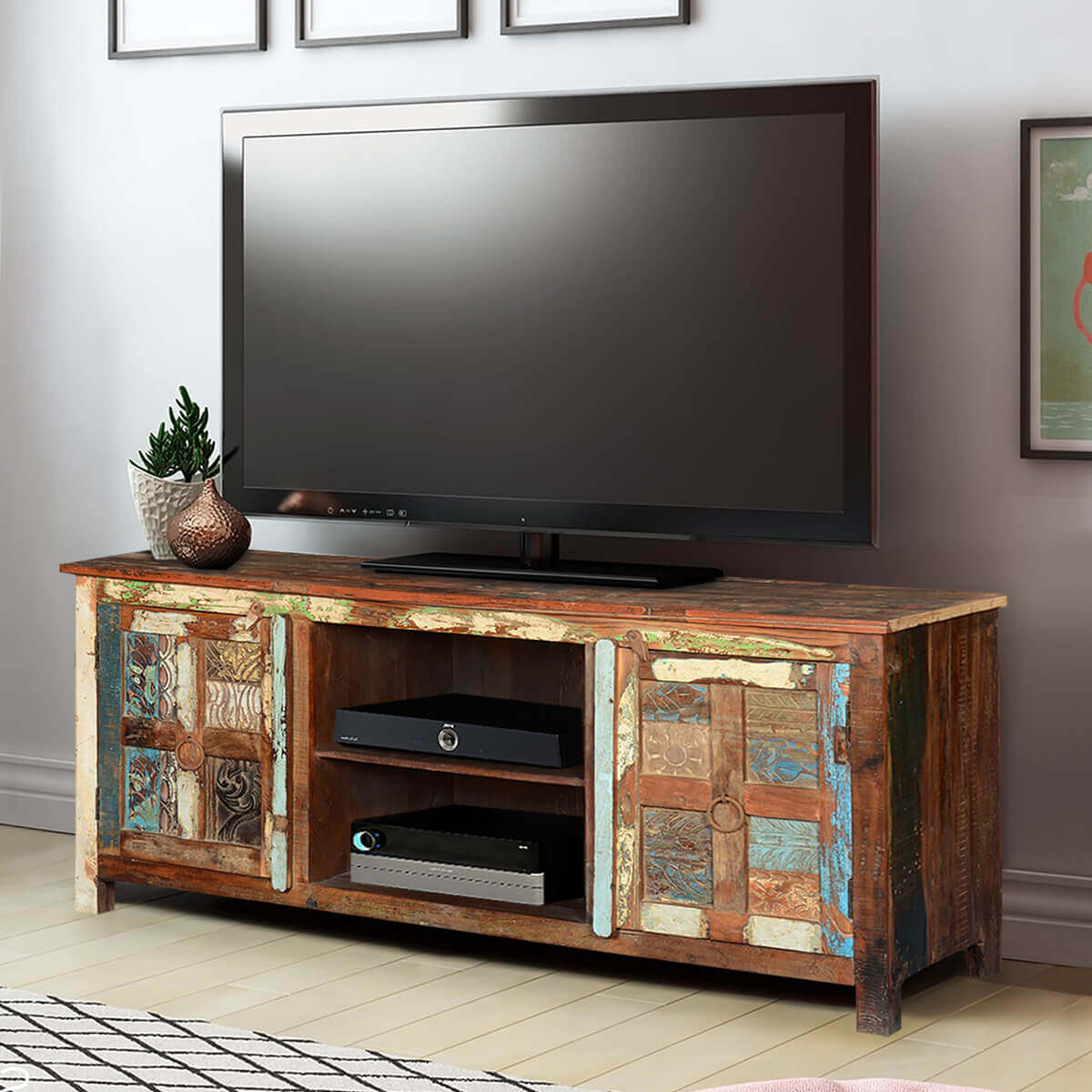 Frontier Rustic Hand Carved Reclaimed Wood TV Console Media Cabinet