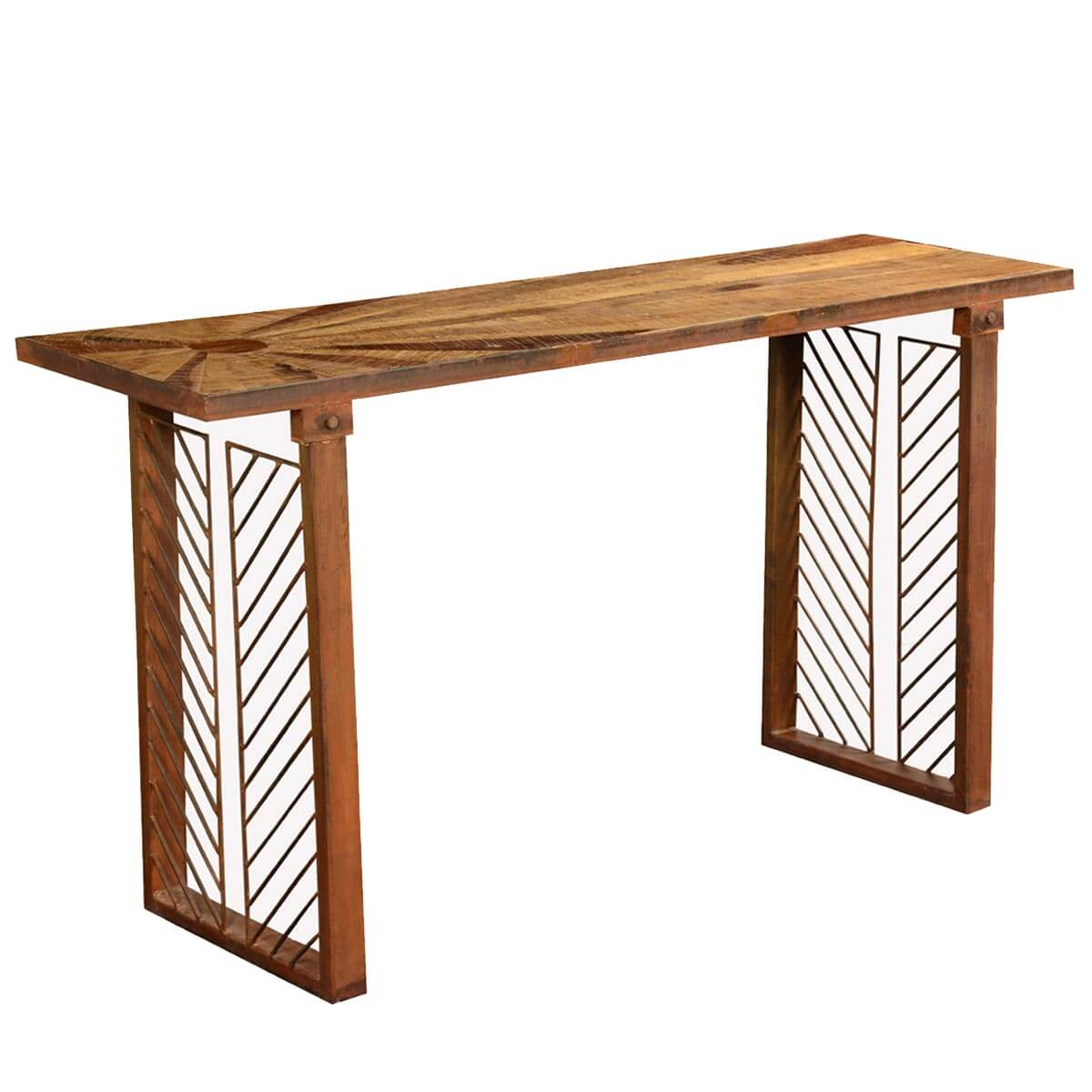 Contemporary Sunburst Reclaimed Wood & Iron Hall Console Table