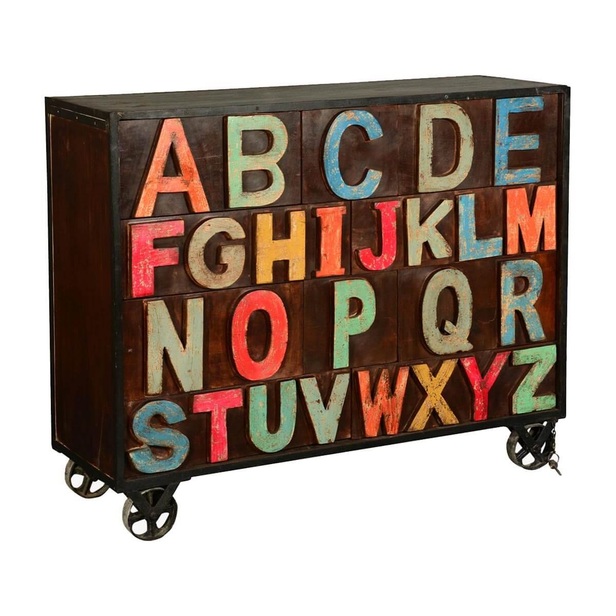 Rainbow Alphabet Mango Wood Rolling 10 Drawer Industrial Chest