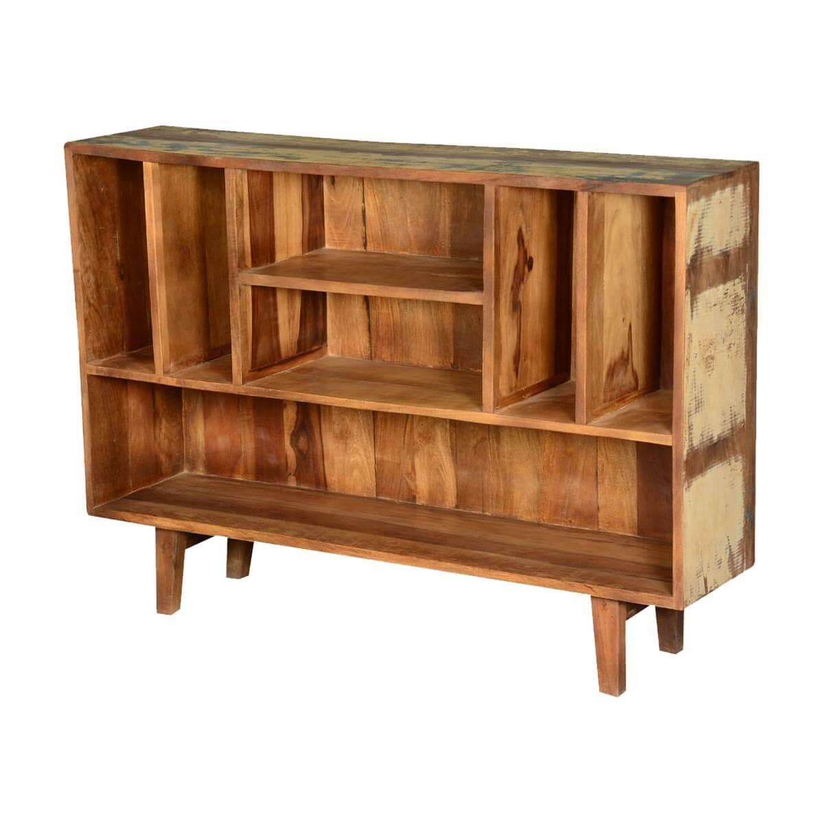 Frontier Rustic Reclaimed Wood Standing Multi Open Shelf Display Case