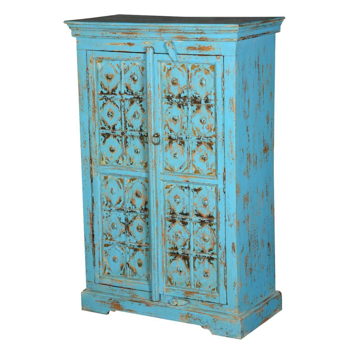 Distressed Blue Diamond Reclaimed Wood Freestanding Wall Cabinet
