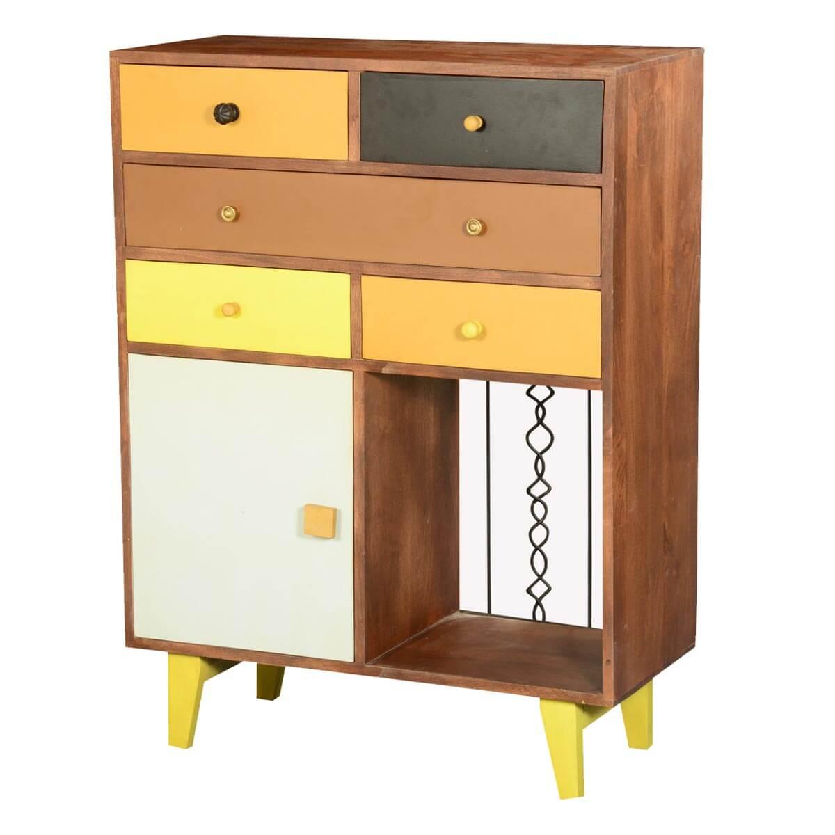 60's Retro Earth Tones Mango Wood 5 Drawer Dresser