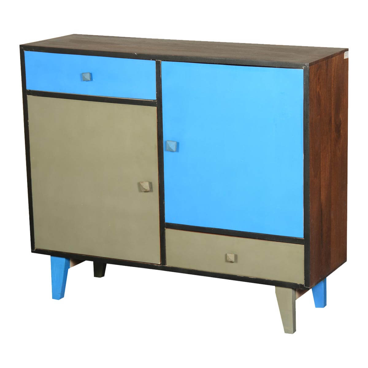60's Retro Blue & Gray Mango Wood Standing Console Cabinet