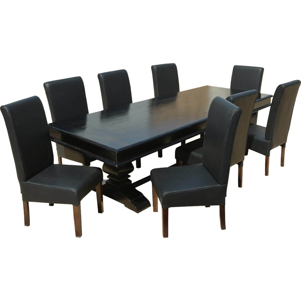 Executive Elegance Wood & Leather 94 Trestle Dining Table & 8 Chairs