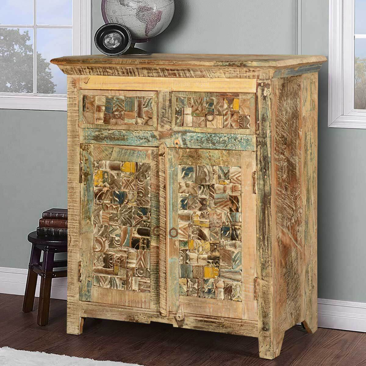 Havelock Mosaic Reclaimed Wood Freestanding 2 Drawer Sideboard Cabinet