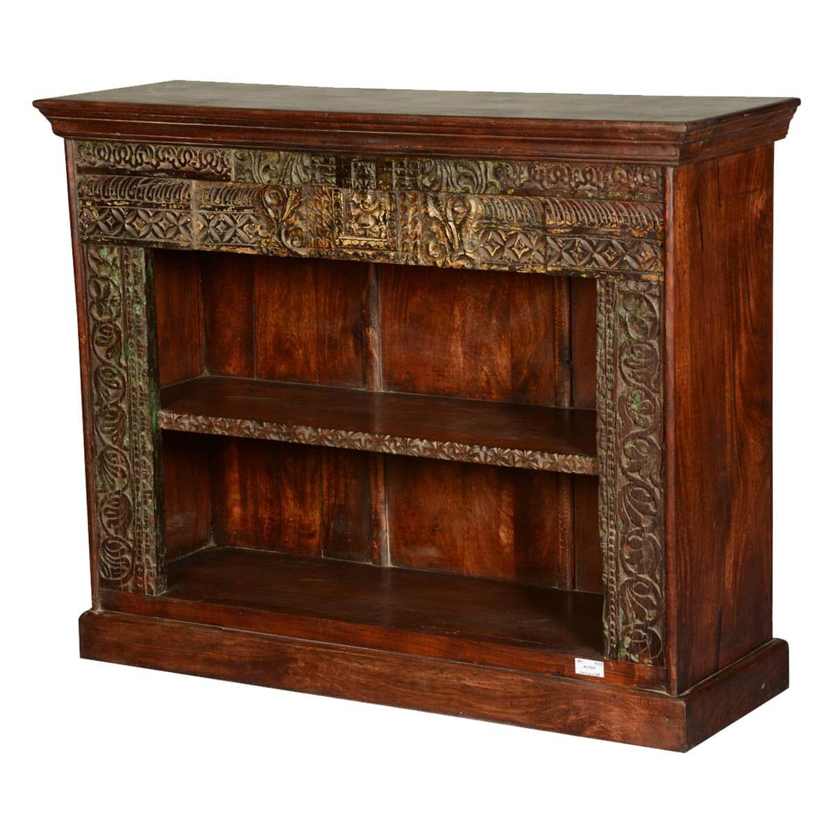 Elizabethan Classic Hand Carved 2 Open Shelf Reclaimed Wood Bookcase