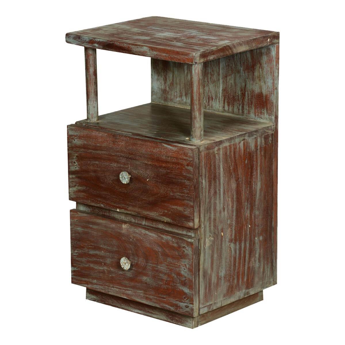 Marea Distressed Reclaimed Wood 2 Drawer Nightstand