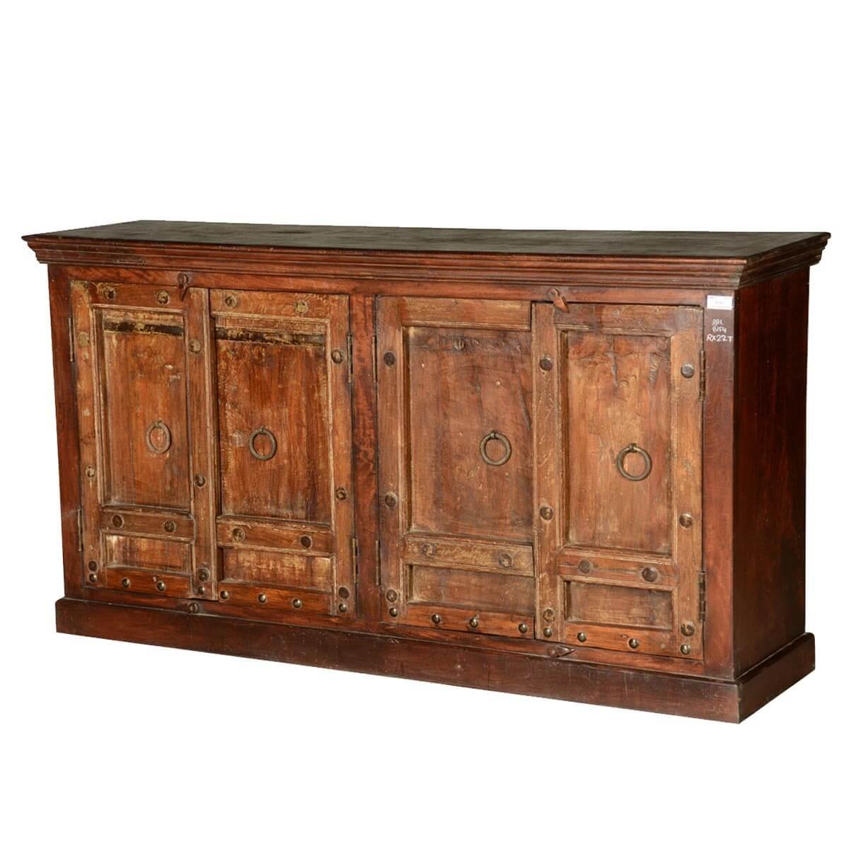 Ratley Rustic Reclaimed Wood 4 Shelf 4 Door Large Buffet Cabinet