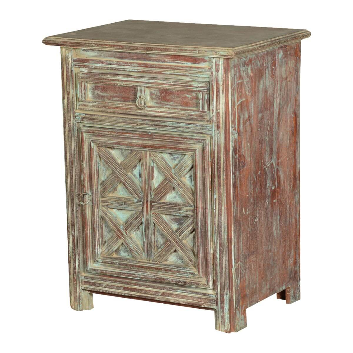Farmhouse Pastel Reclaimed Wood Nightstand End Table Cabinet