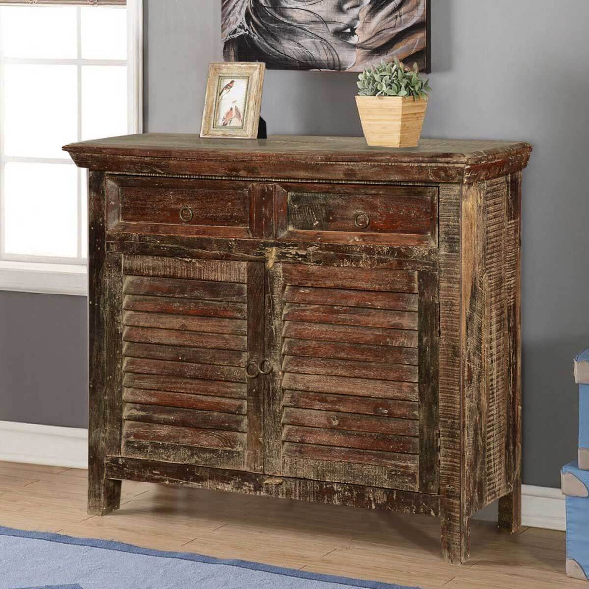 Redmond Rustic Reclaimed Wood 2 Drawer Buffet Storage Cabinet