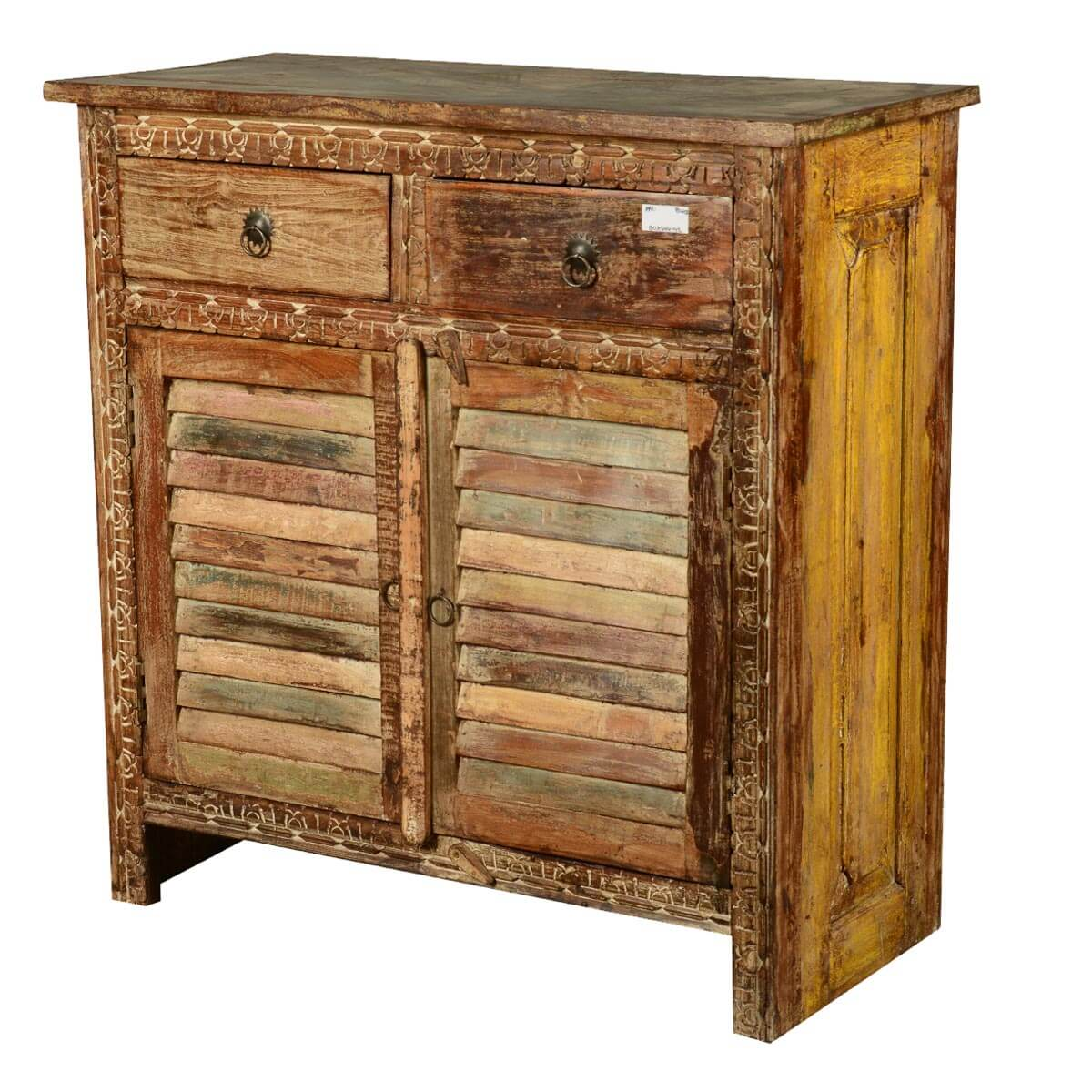 Haledon Distressed Reclaimed Wood 2 Drawer Accent Storage Cabinet