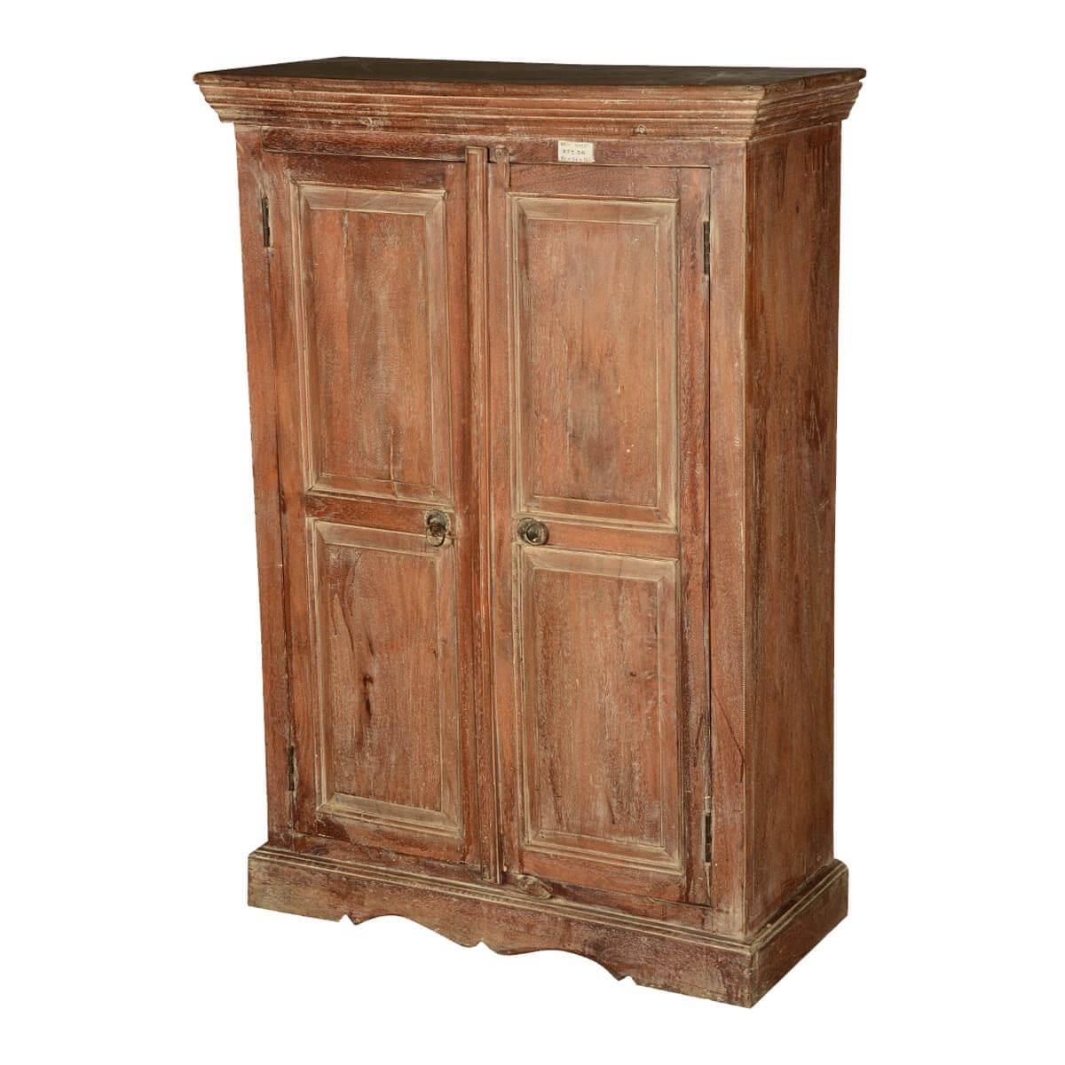 Colonial American Rustic Reclaimed Wood Freestanding Cabinet