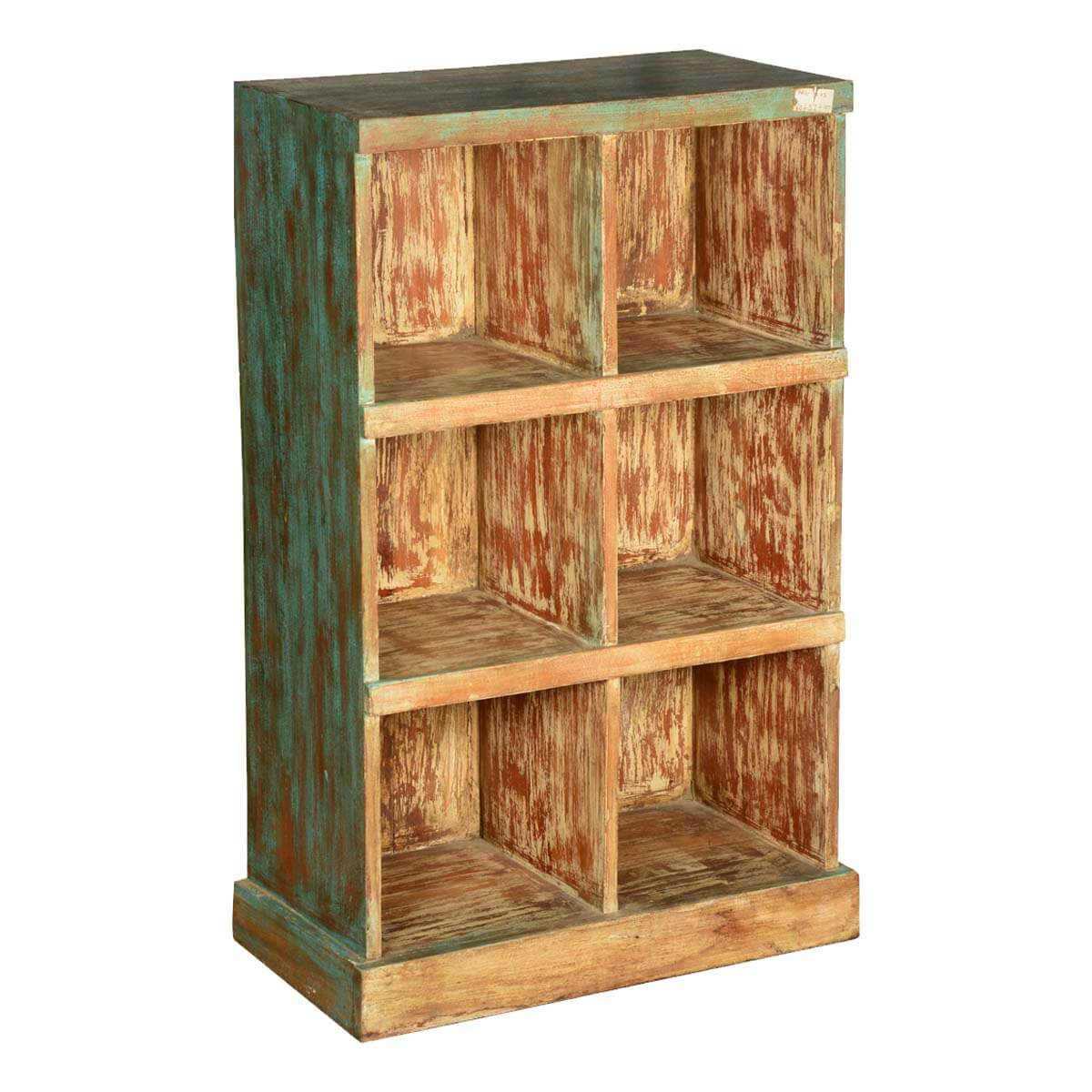 Jungle Shadows Reclaimed Wood 6 Shelf Open Cube Bookcase