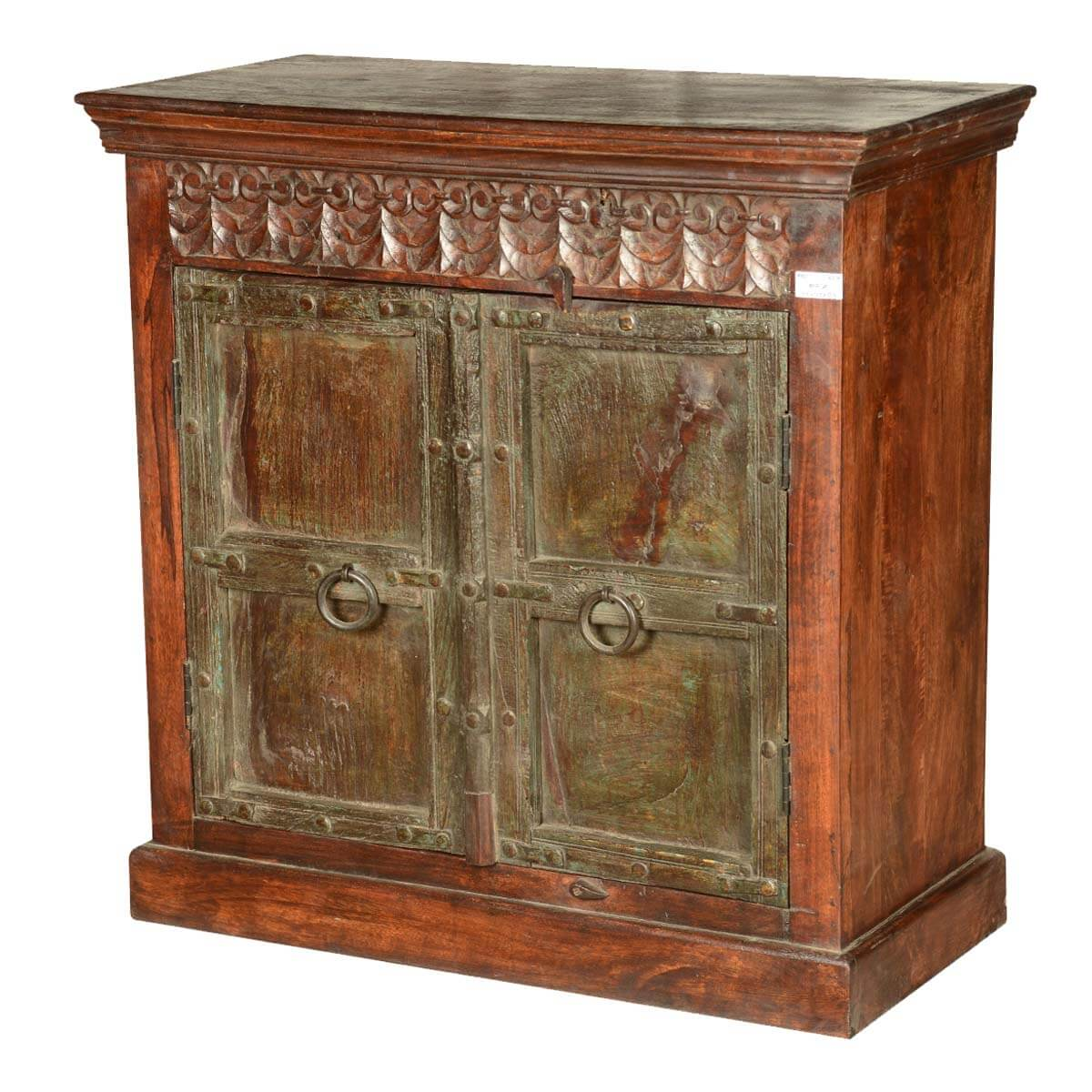 Bellefonte Gothic Reclaimed Wood Hand Carved Storage Cabinet