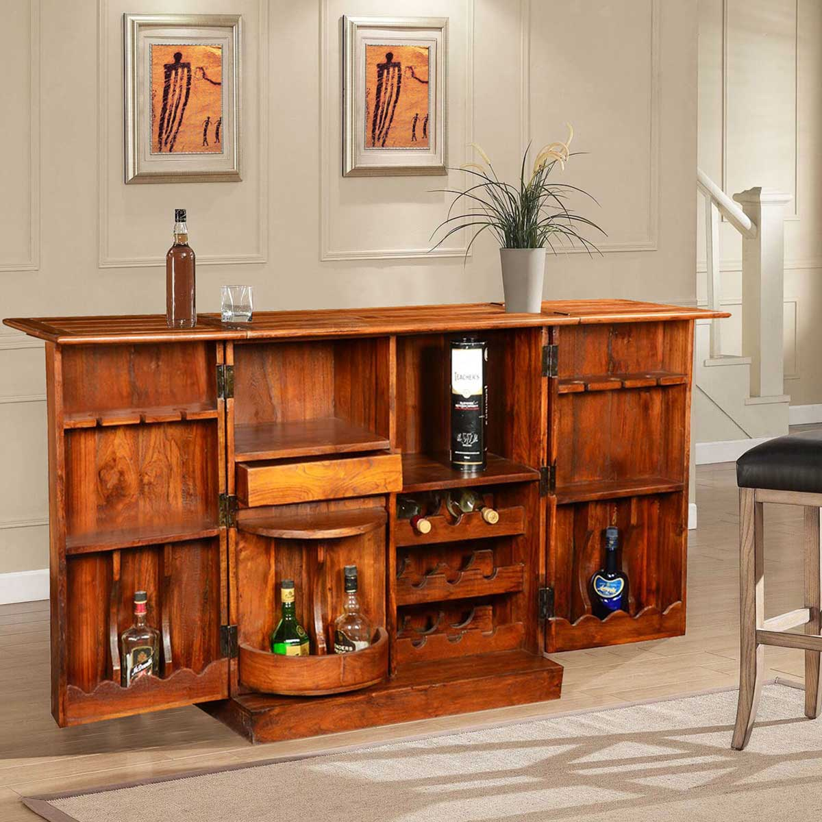Double Diamond Expandable Wine Bar Cabinet with Wine Bottle Rack