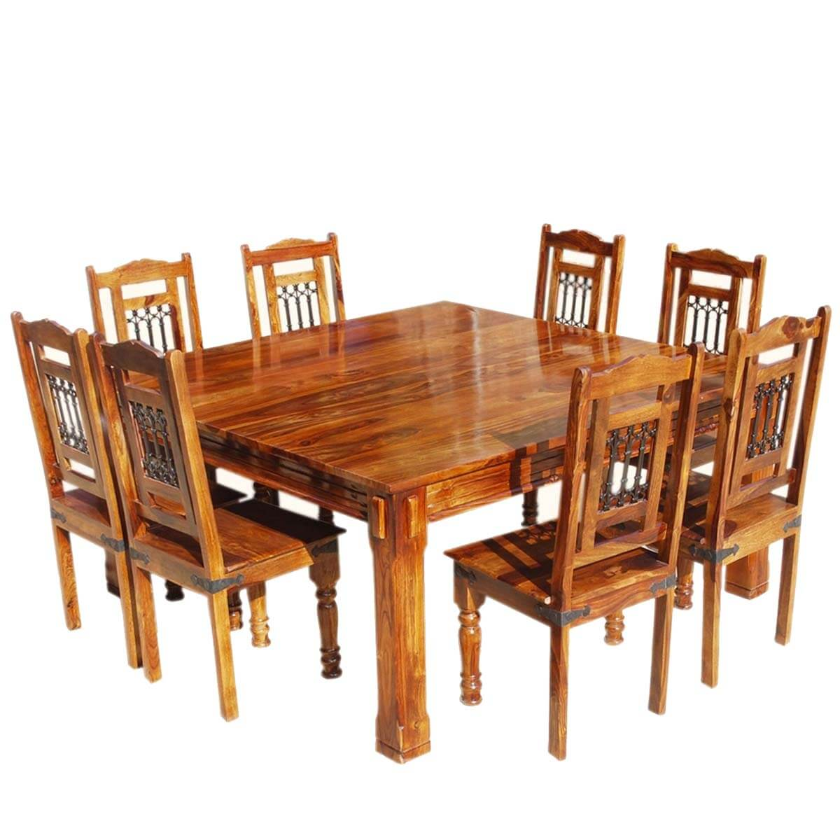 Transitional Solid Wood Rustic Square Dining Table Chairs Set