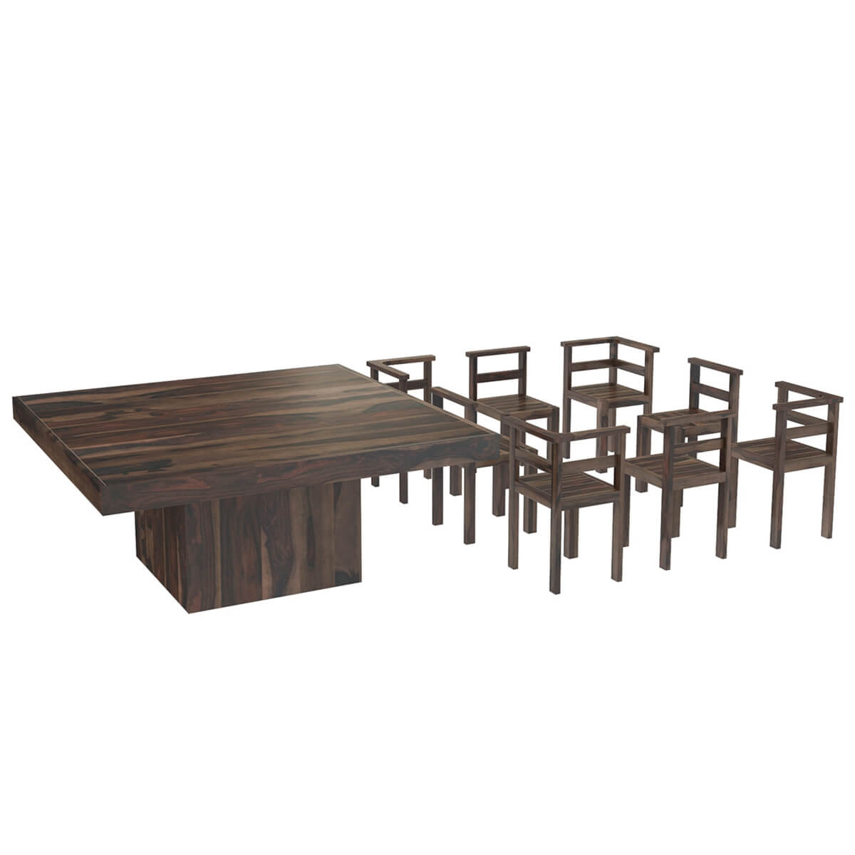 "Rustic Solid Wood Large Square Dining Table Chair Set: Modern Rustic Solid Wood 64"" Square Pedestal Dining Table"
