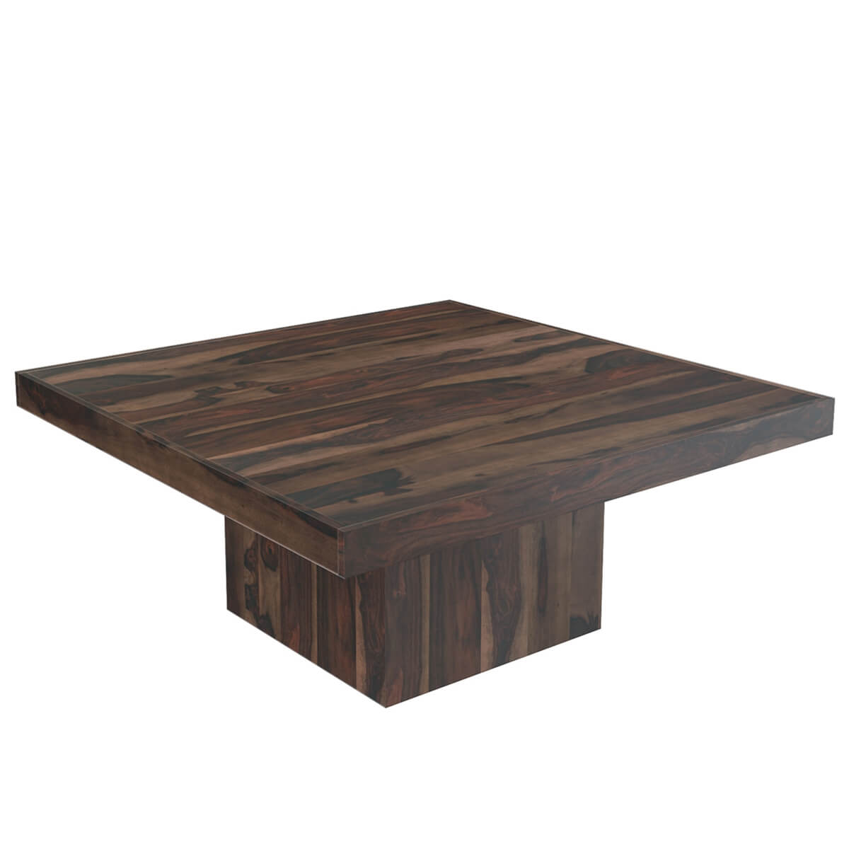 """Modern Rustic Dining Table: Modern Rustic Solid Wood 64"""" Square Pedestal Dining Table"""