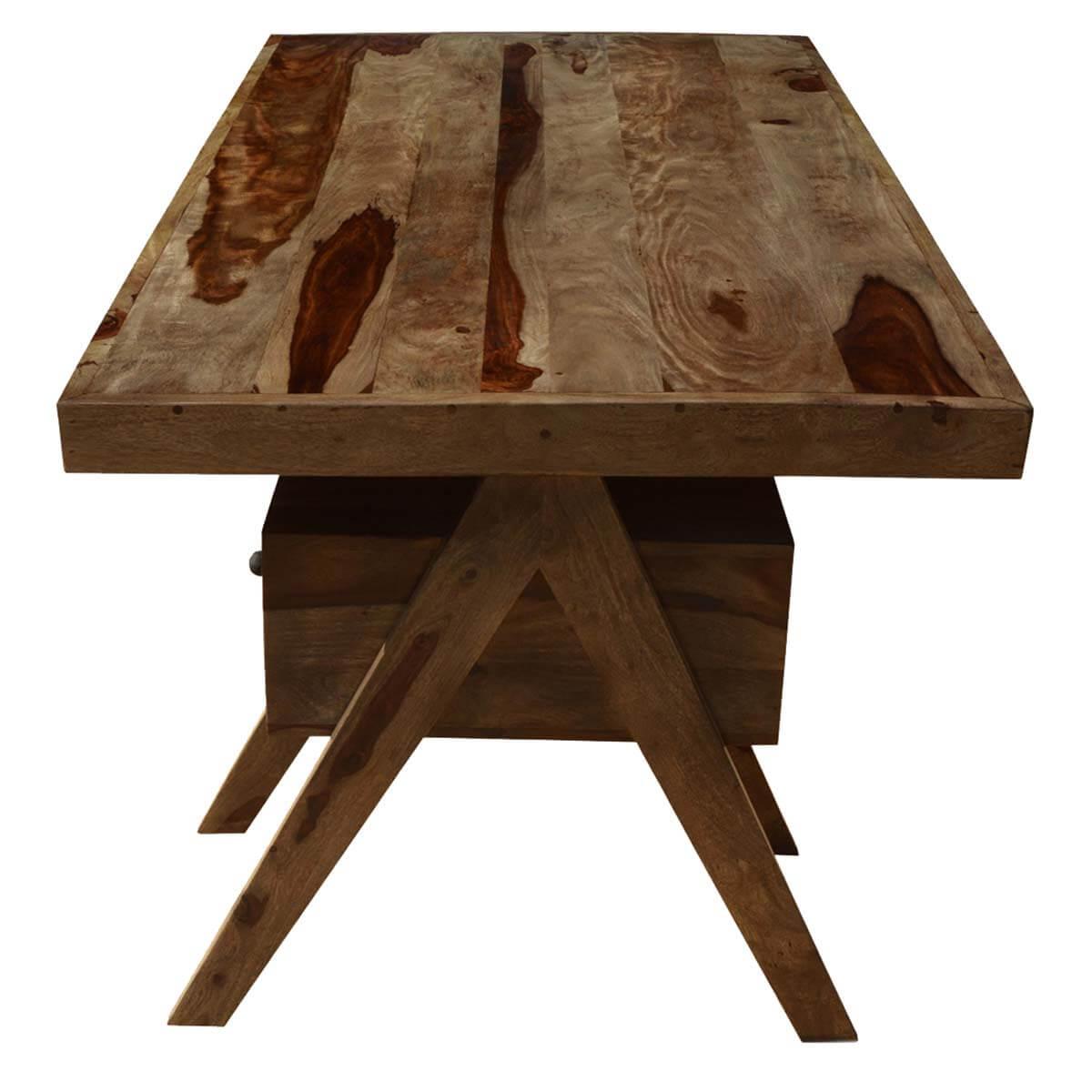 "Rustic Americana Hardwood Executive Desk Home Office: Rustic Artist Solid Wood 72"" Home Office Executive Desk"
