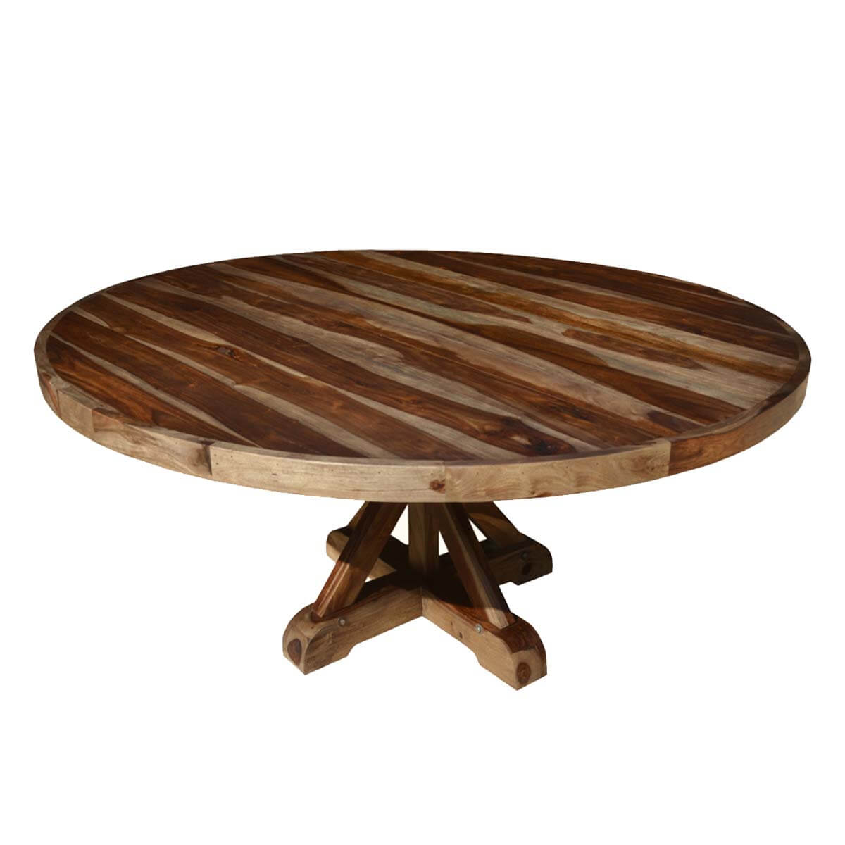 "Round Solid Wood Dining Table: Bedford Rustic Solid Wood 72"" X Pedestal Round Dining Table"