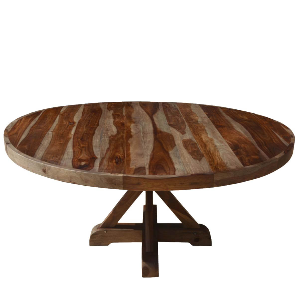 """bedford rustic solid wood 72"""" x pedestal round dining table"""