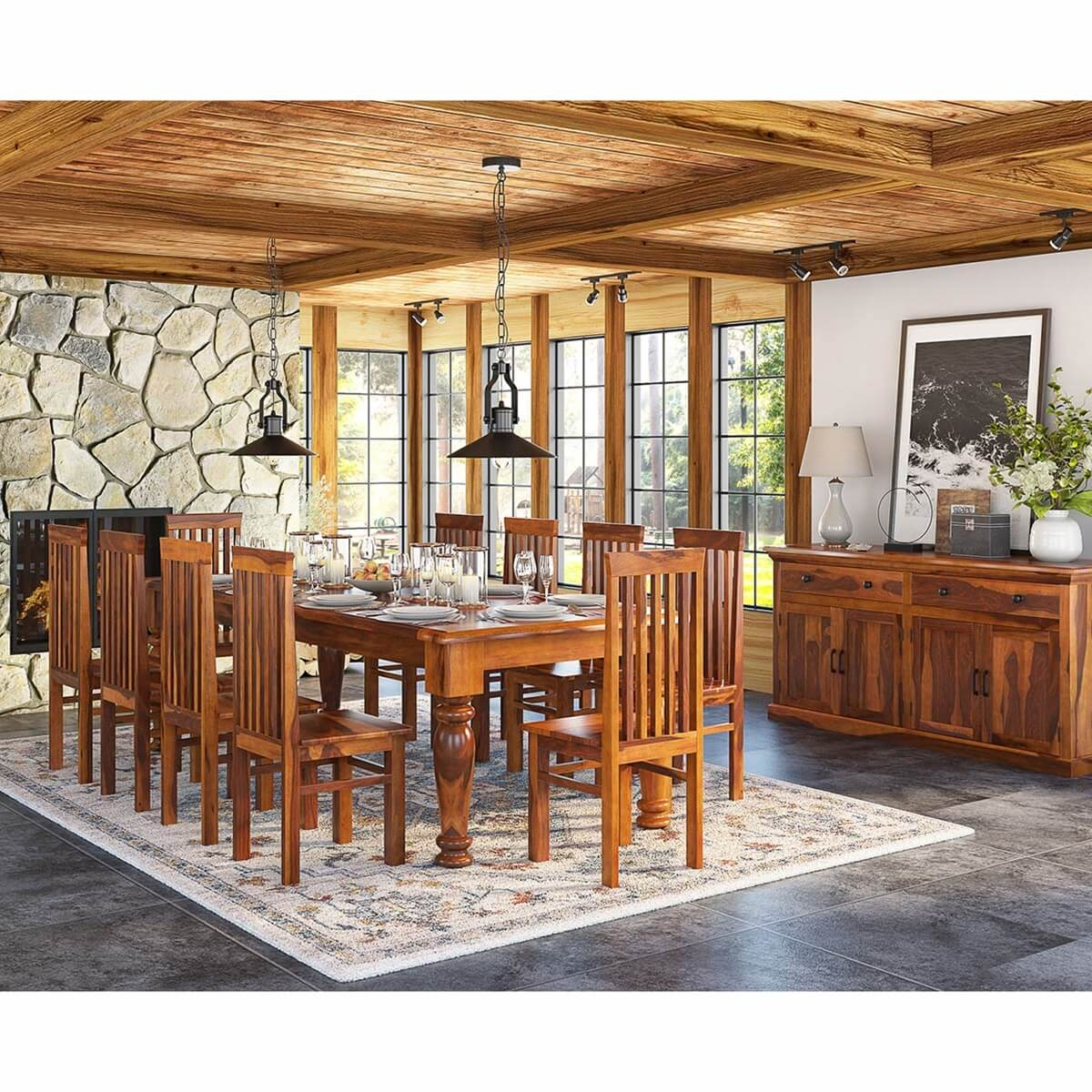 Large Dining Rooms: Clermont Rustic Solid Wood 14 Piece Large Dining Room Set
