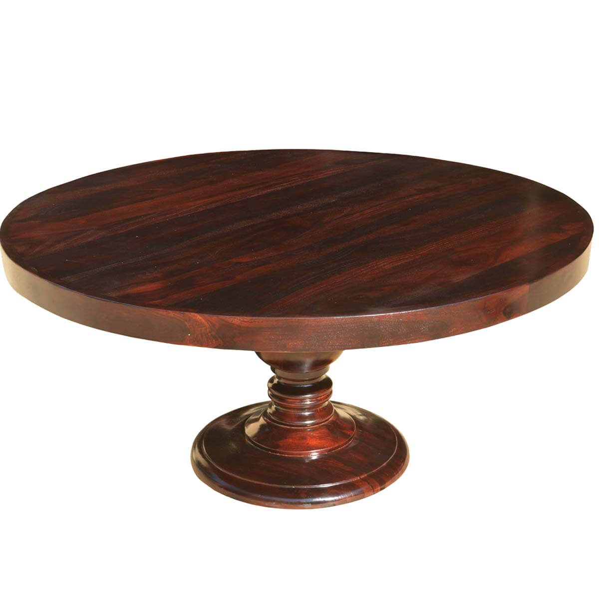Colonial American Solid Wood Pedestal 72 Round Dining Table