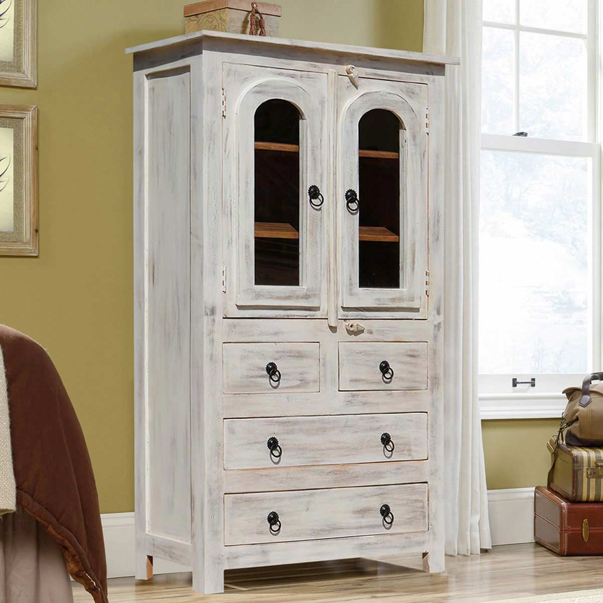 Mangilao Winter White Rustic Solid Mango Wood Display Cabinet Armoire
