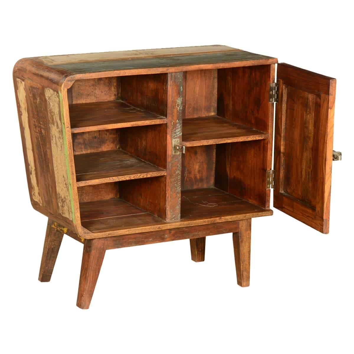Destin Rustic Reclaimed Wood Open Shelf Freestanding Cabinet
