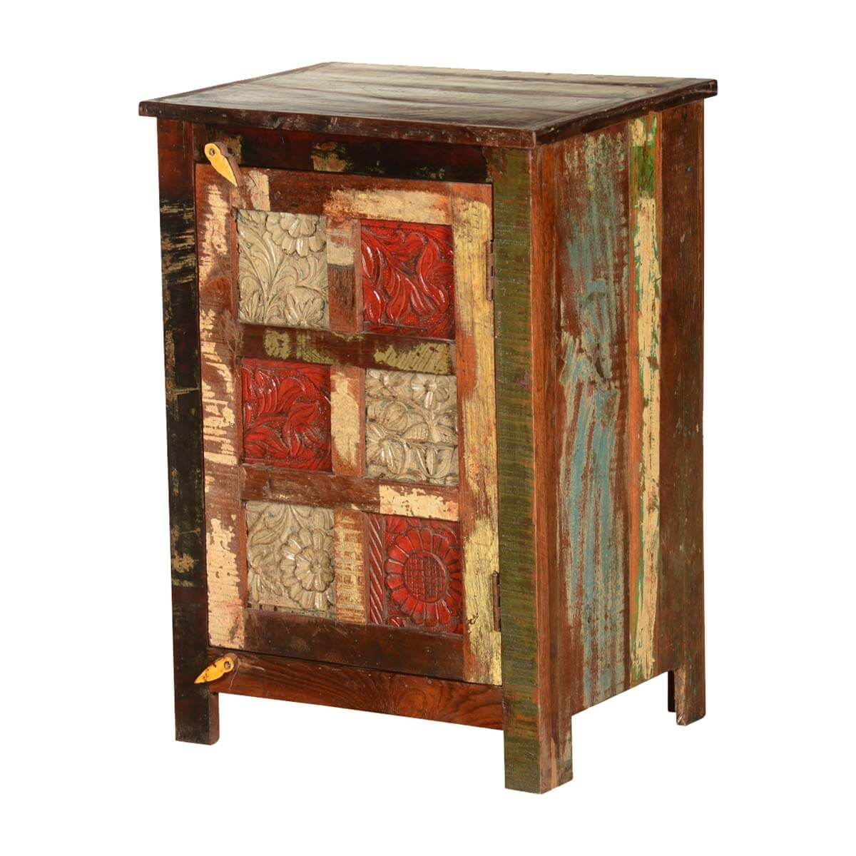 Rustic Floral Tiles Reclaimed Wood Nightstand End Table Cabinet