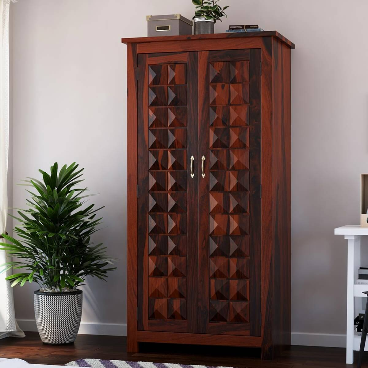 Clatonia Pyramid Studded Solid Wood Wardrobe Armoire With Drawers