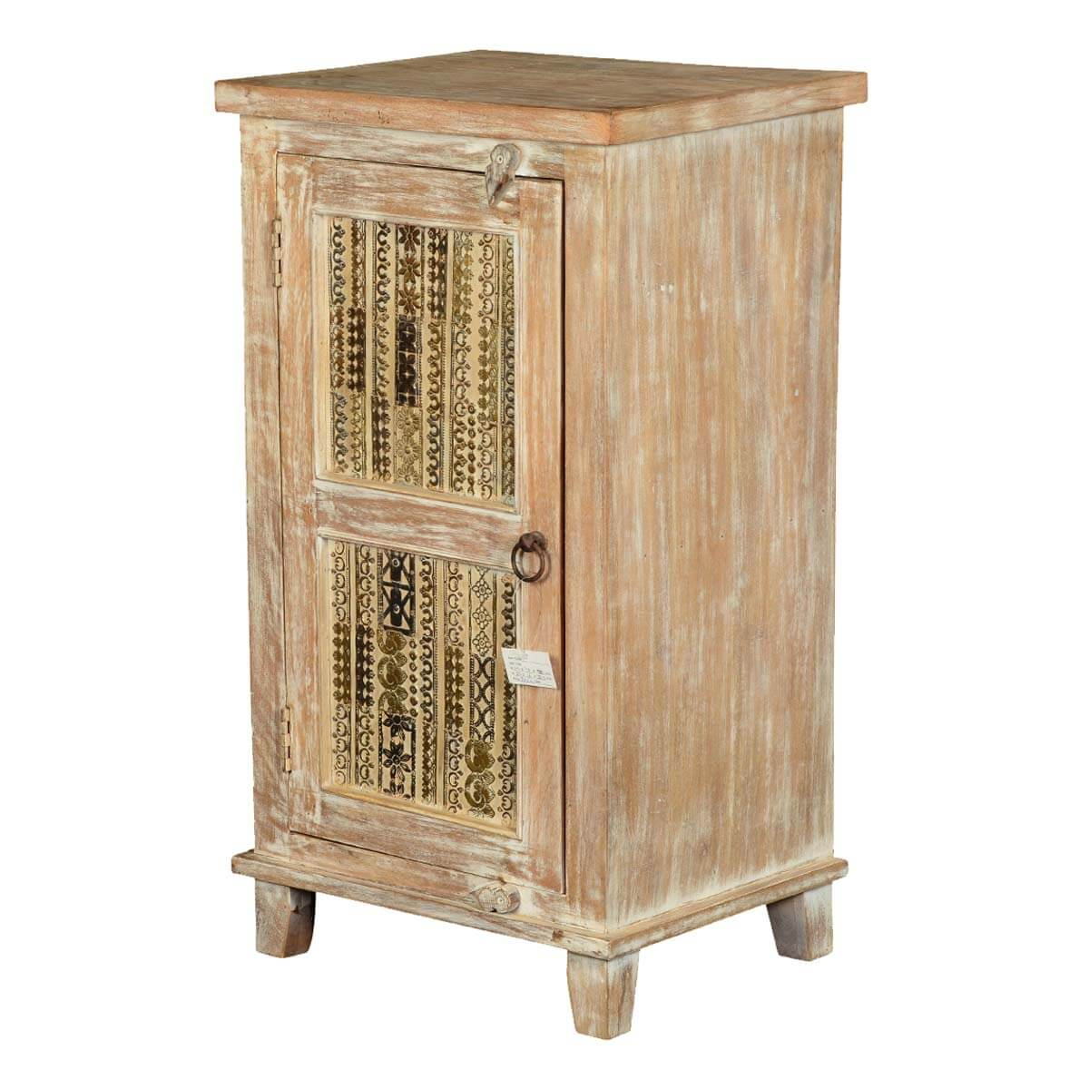 Modern Mosaic Winter White Mango Wood Nightstand End Table Cabinet