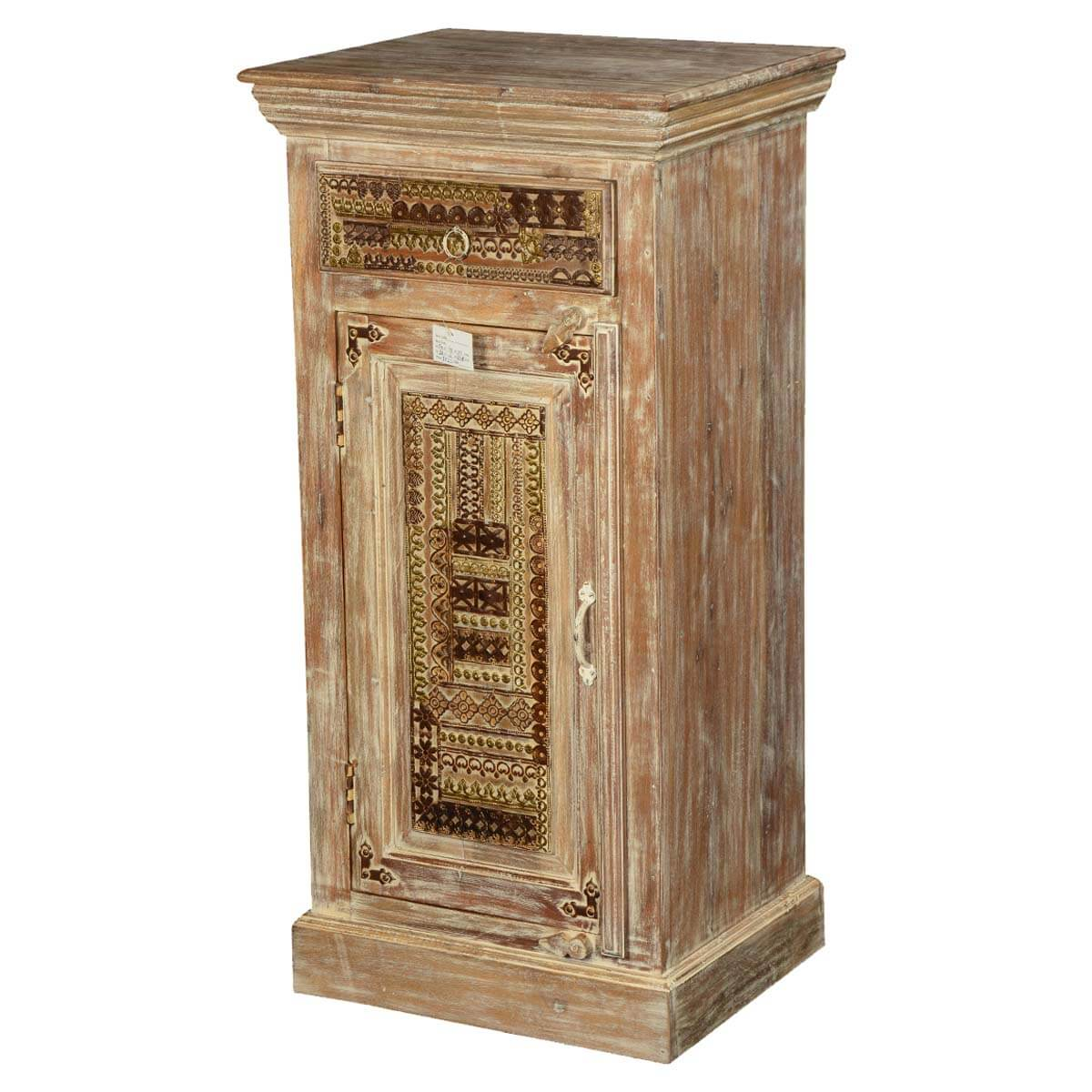 Modern Mosaic Mango Wood Single Door Freestanding Tower Cabinet