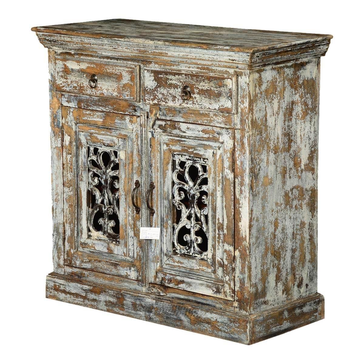 Shadow Forest Mango Wood Iron Grille Door 2 Drawer Storage Cabinet