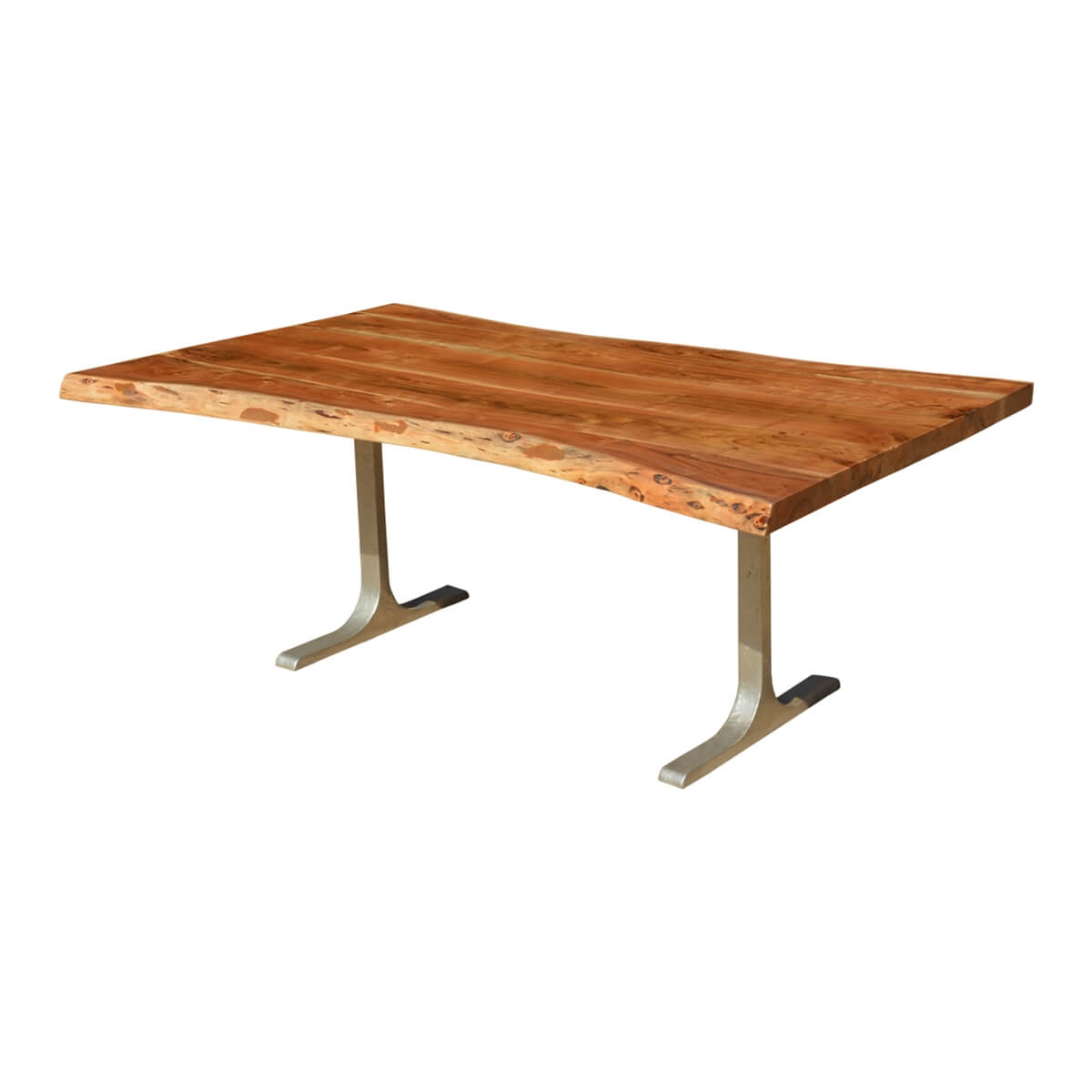 Solid Wood Iron Base Santa Fe Live Edge Dining Table