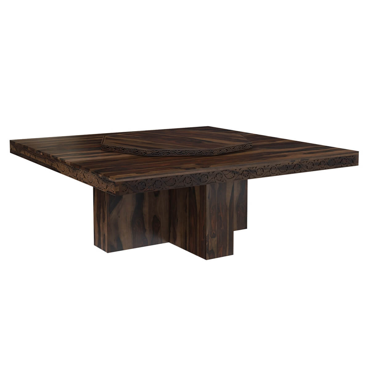 Rustic Solid Wood Large Square Pedestal Dining Table with Lazy Susan
