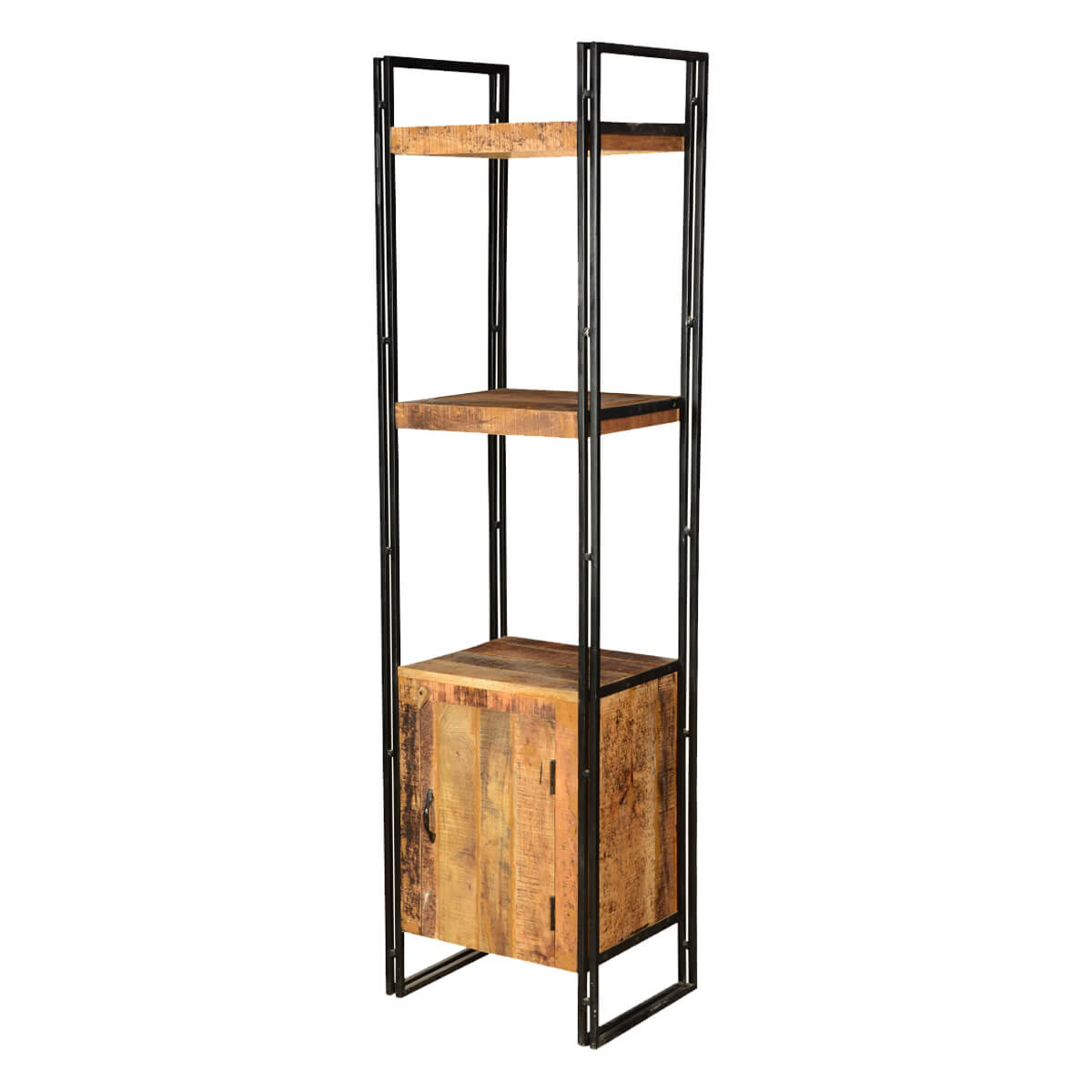 Pioneer Rustic Mango Wood & Black Iron 71.5 Wall Tower w Cabinet
