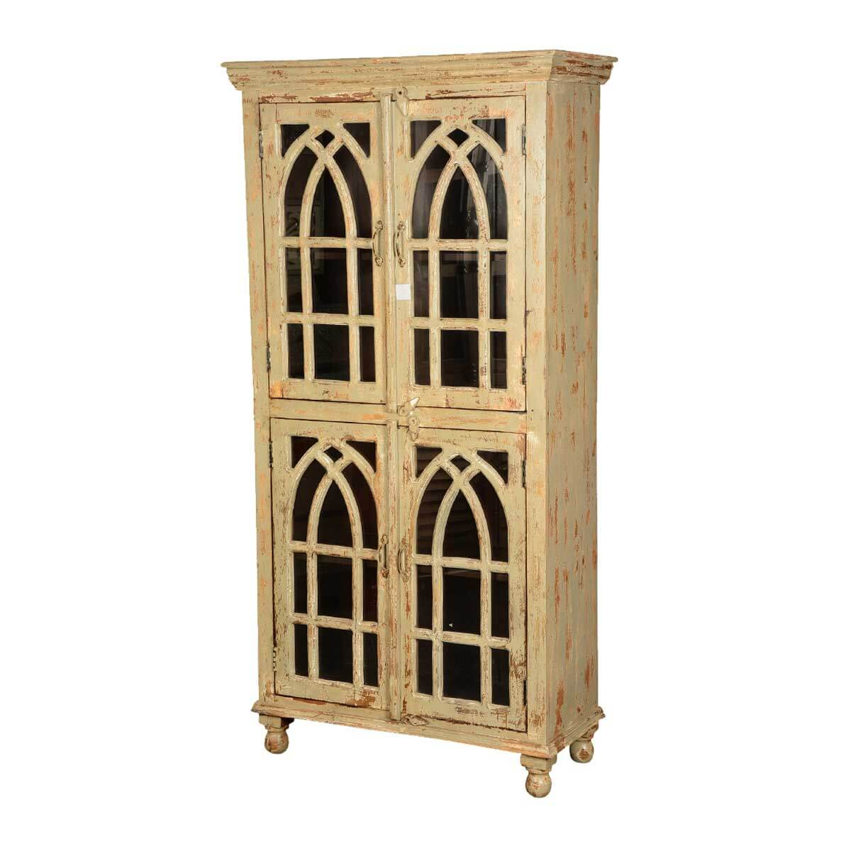 Queen Anne Distressed Mango Wood Winter White Display Cabinet Armoire