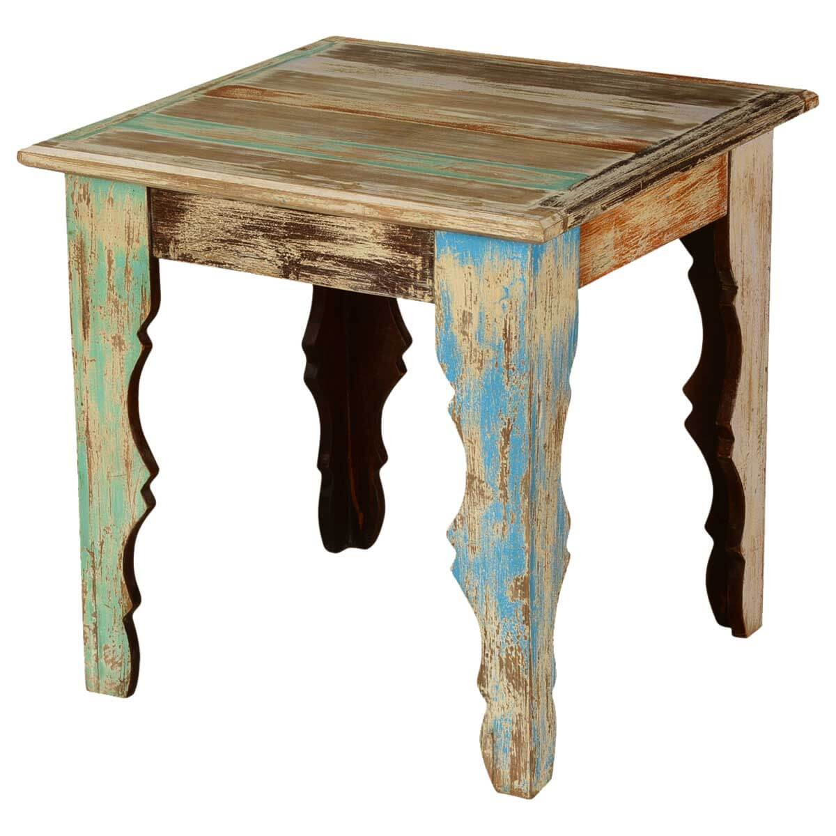 Rustic Parisian Mango Wood 23.5 Square End Table w V Shaped Legs