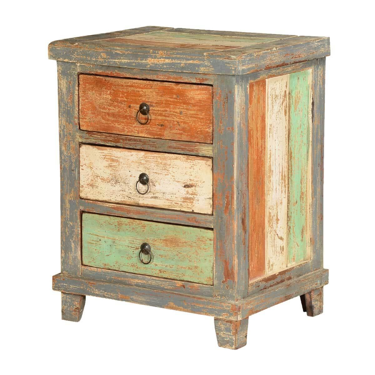 Orange White Green Stripes Mango Wood Rustic Nightstand End Table