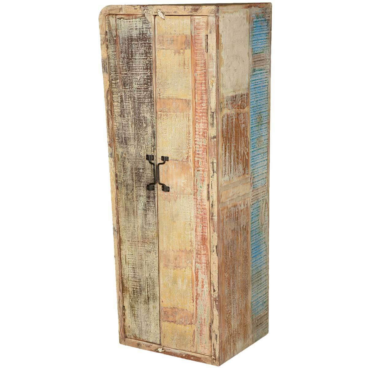 Almena Rustic Distressed Solid Mango Wood Narrow Tall Linen Cabinet