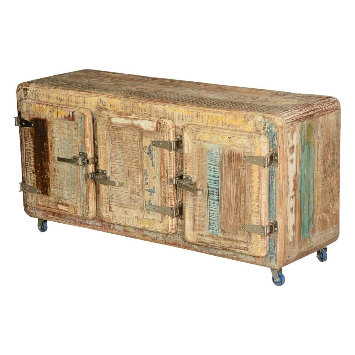 Rustic Icebox Mango Wood Rolling TV Console Cabinet