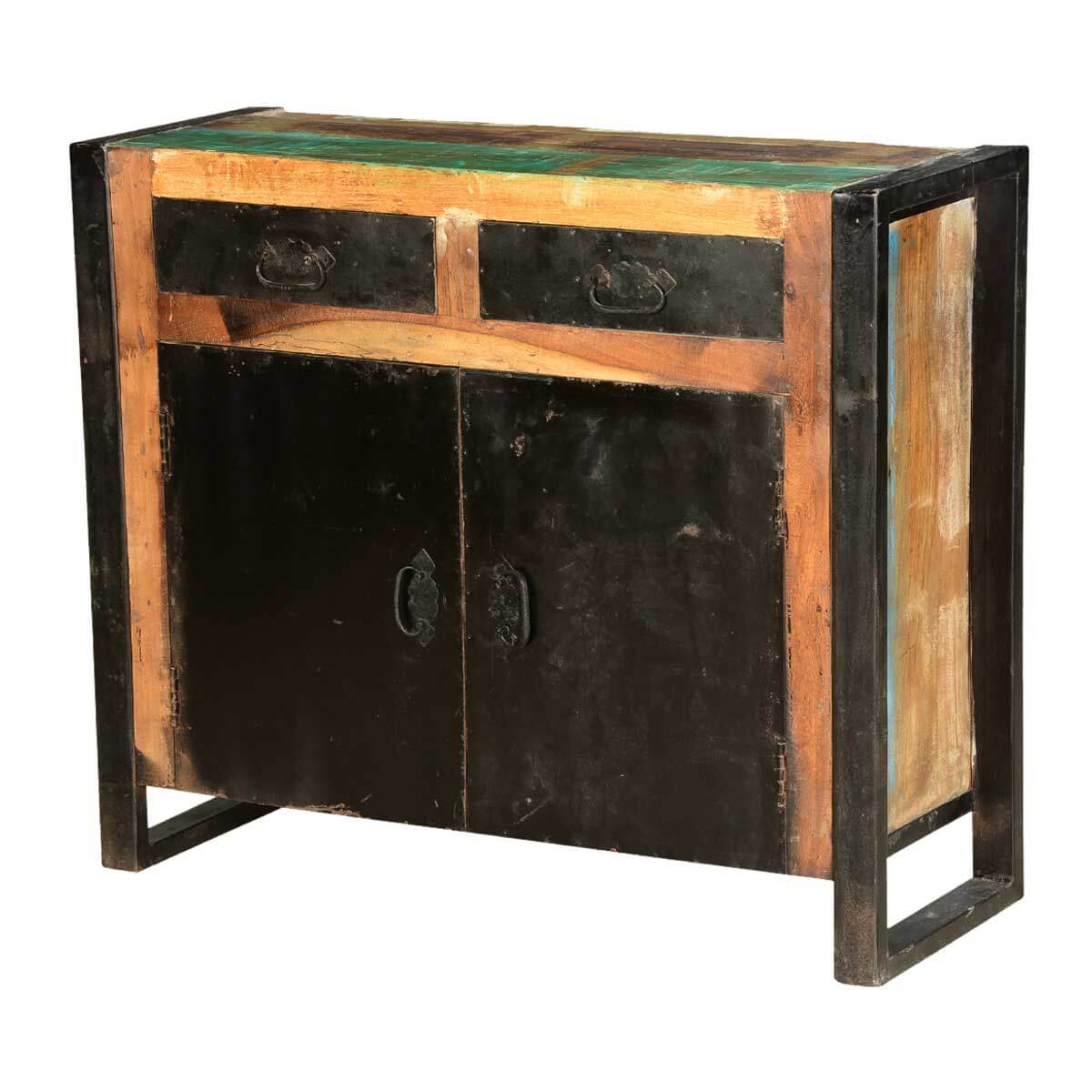 Midnight Reclaimed Wood 2 Drawer Iron Industrial Buffet Cabinet