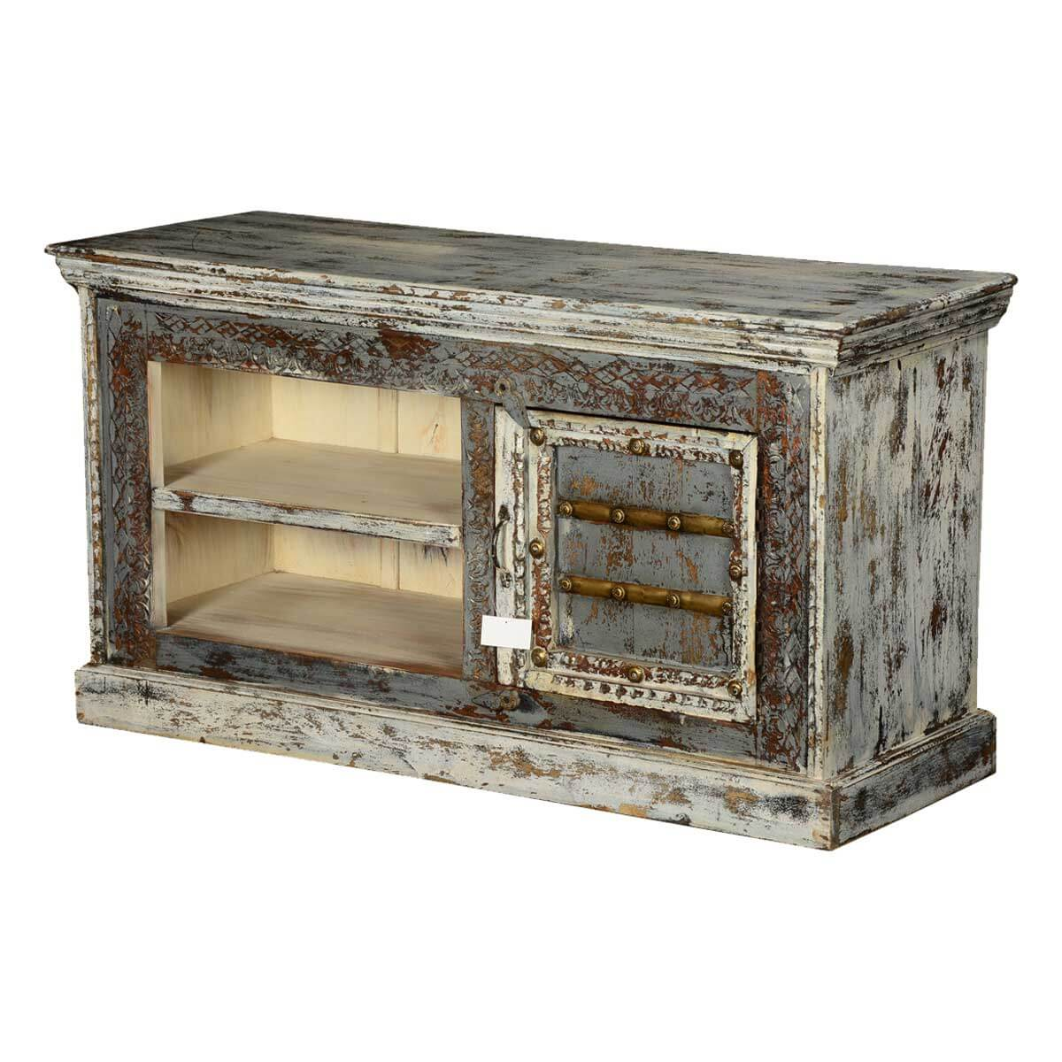Corwin White Speckled Mango Wood Handcrafted TV Media Console Cabinet