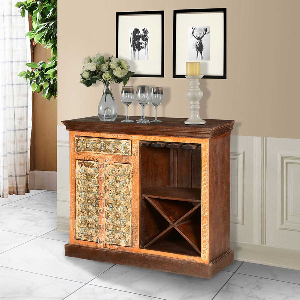 Golden Gothic Handcrafted Mango Wood Wine Rack Bar Cabinet
